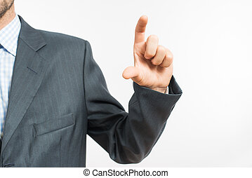 man holding an imaginary object - Young businessman holding...