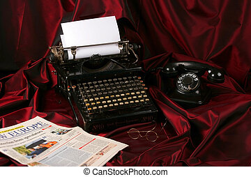Old type writer with phone , glasses and newspaper - Old...
