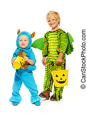 Two brothers in monster costumes on Halloween - Two boys...