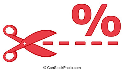 red scissors with percentage and dotted line - isolated icon...