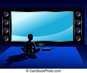Game console - Boy playing coumputer game console in front...