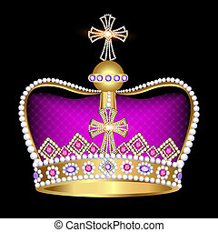 imperial crown with jewels on a black background