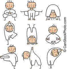 Comic Yoga Man Collection - Doing healthy yoga poses person....