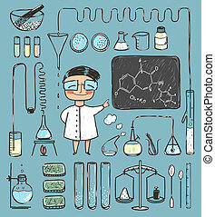 Young Girl Chemist and Laboratory Tools Collection -...