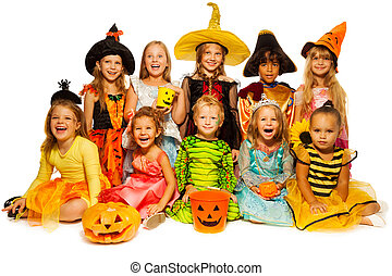 Ten kids in Halloween costumes together isolated - Large...
