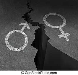 Gender Gap - Gender gap and sex inequality concept as a male...