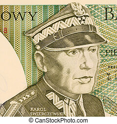 Karol Swierczewski on 50 Zlotych 1988 Banknote from Poland....