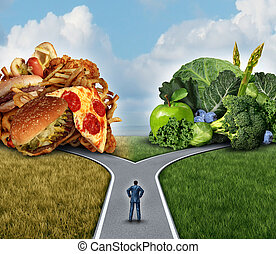 Diet Decision - Diet decision concept and nutrition choices...