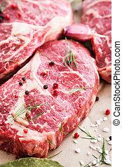 crudo, filete, carne de vaca