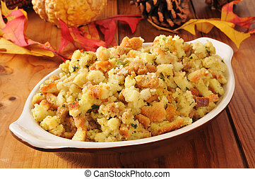 Holiday cornbread stuffing - A small casserole dish of...
