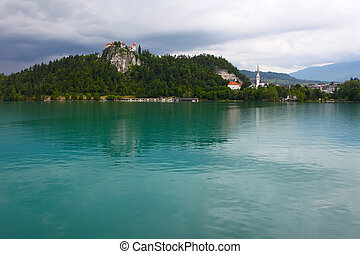 Bled lakeSlovenia - Medieval castle on top of a hill in Bled...