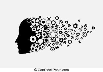Human head silhouette with set of gears as a brain. Fly...
