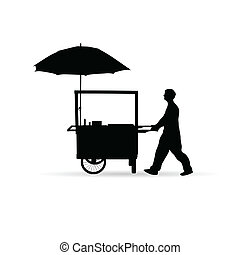 man sold hot dog vector silhouette illustration