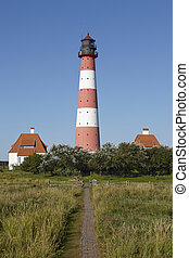 Westerhever Germany - Light house and path of clinker bricks...
