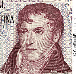 Manuel Belgrano on 10 Pesos 1976 Banknote from Argentina....