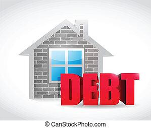home debt real estate sign illustration design