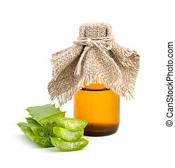 Aloe vera with pharmaceutical bottle Isolated on white...