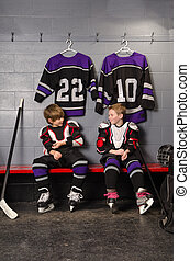 Hockey Player Boys Getting Dressed - Young Boy Hockey...
