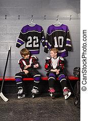 Hockey Player Boys Getting Dressed - Young Boy Hockey...