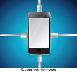 phone and cables illustration design