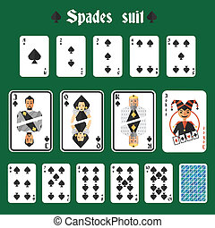 Playing cards spades set - Playing cards spades suit set...