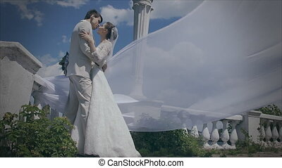 Tender Kiss newlyweds Loving couple kissing on the...