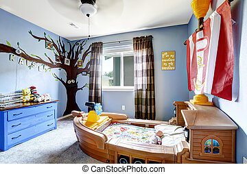 Cheerful kids room with boat bed - Cheerful kids room in...