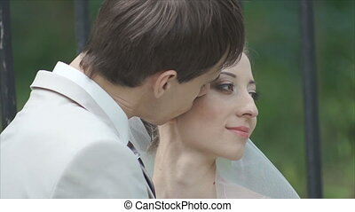 Gentle kiss loving couple close up - Man and woman kiss and...
