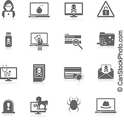 Hacker icons black - Hacker and computer security protection...