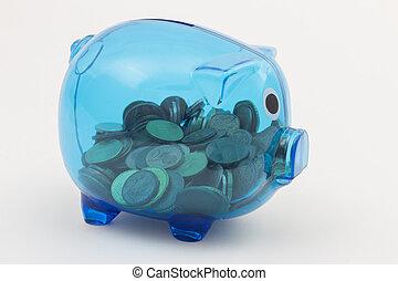 Blue transparent piggy bank with euro coins - Blue...