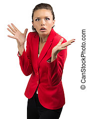 Portrait of confused business woman on white background