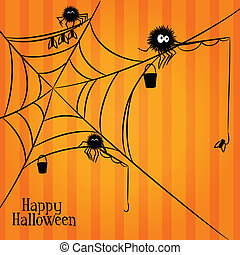 Web, spiders and fishing in Halloween style - Web fuzzy...
