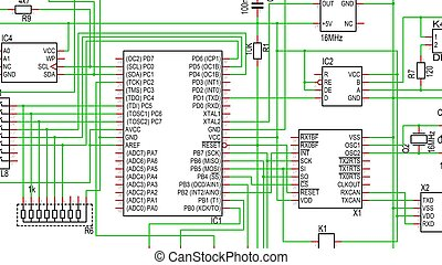 Part of Circuit Diagram in Color, showing a microcontroller...