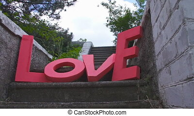 LOVE sign made ??of cardboard close up