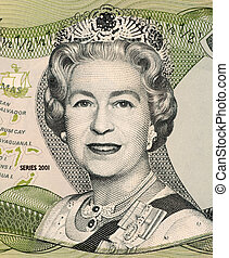Queen Elizabeth on 50 Cents 2001 Banknote from Bahamas