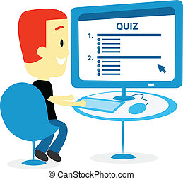 Man Taking A Quiz on Computer Screen - Man Taking A Digital...