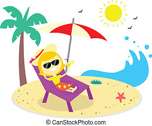 Relaxing Vacation On The Beach - Woman take a relaxing...