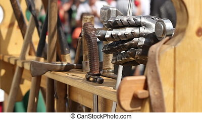 Various Ancient Weapons - Fiercely medieval fighters arrange...