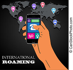 Mobile phone international roaming. Vector illustration....