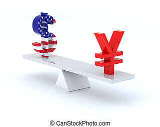 dollar yen swing 3d illustration