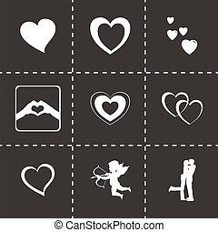 Vector black love icons set