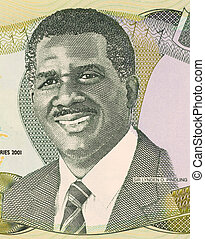 Sir Lynden Oscar Pindling on 1 Dollar 2001 Banknote from...