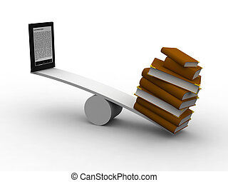 seesaw between many books and e-reader, 3d illustration