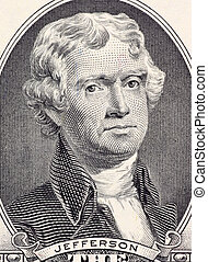Thomas Jefferson on 2 Dollars 2003 Banknote from USA. Third...