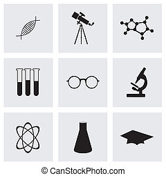 Vector black science icons set on grey background