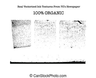 Real vectorized black traced ink textures from 70s newspaper...