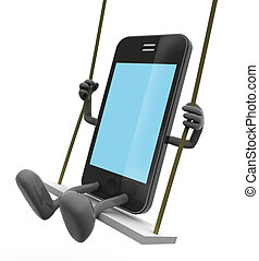 mobile phone on the swing, game concept on smartphones