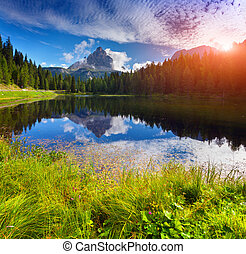 Lake Antorno lake and Tre Cime of Lavaredo south face in...