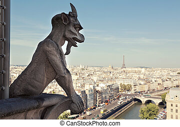 Paris - Notre Dame of Paris: Famous Chimera, demon,...