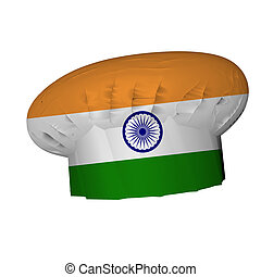 Indian cuisine - Cooks hat decorated with Indian flag, 3d...